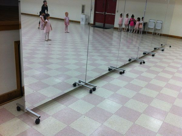 Buy Glassless dance mirrors on wheels, portable and rollable for dance, ballet and theater production.
