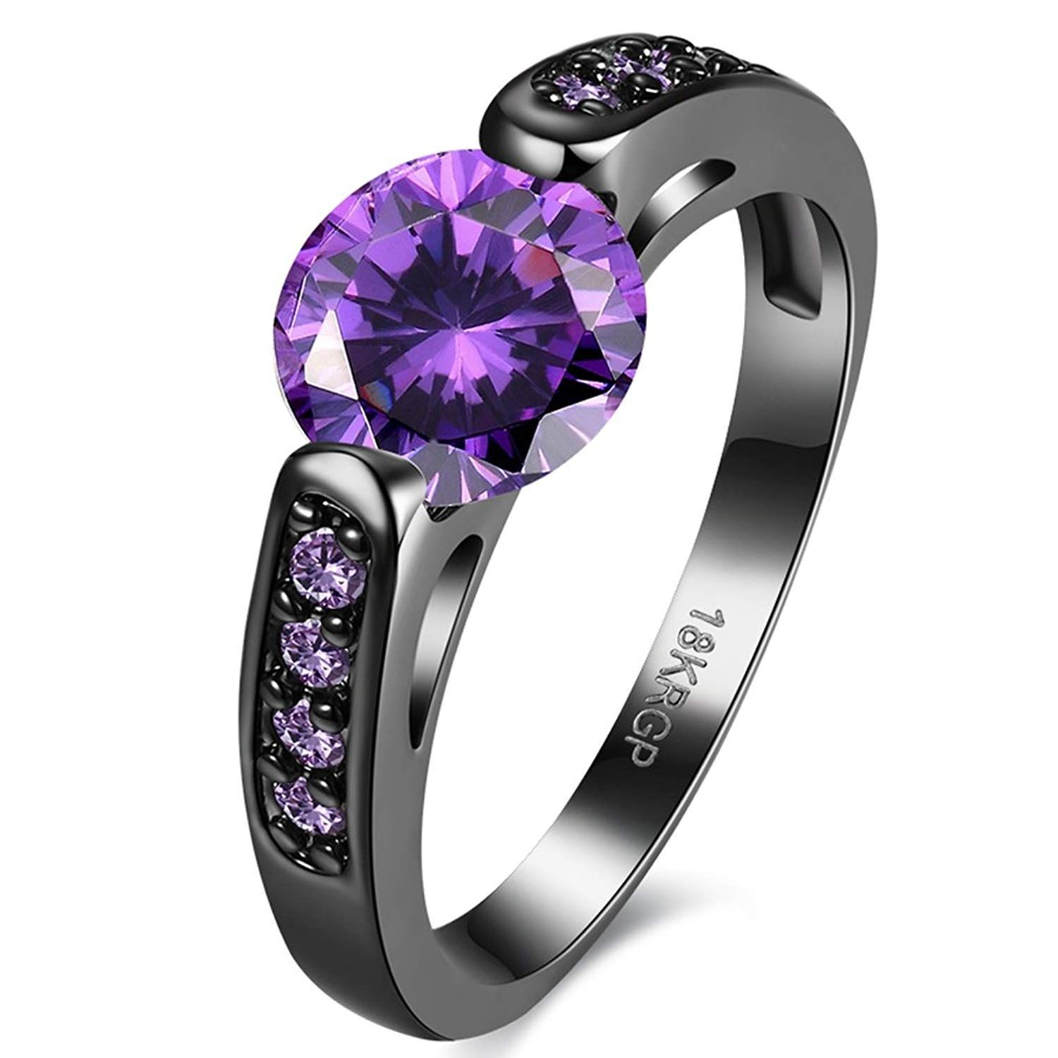 Jewelry Women Engagement Purple Red CZ Heart Love Square Crystal Wedding Ring