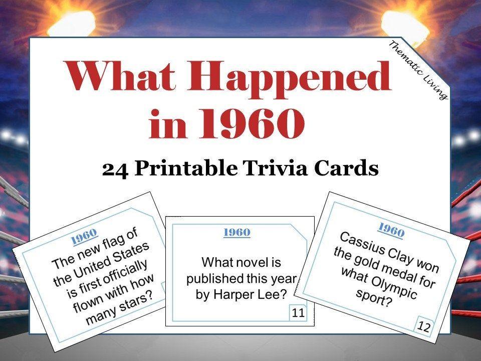 60th Birthday 1960 Trivia Cards Anniversary Games