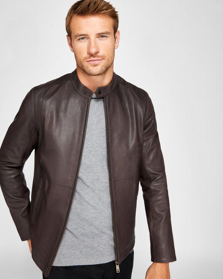 bc6c1db073765e Leather biker jacket - Brown