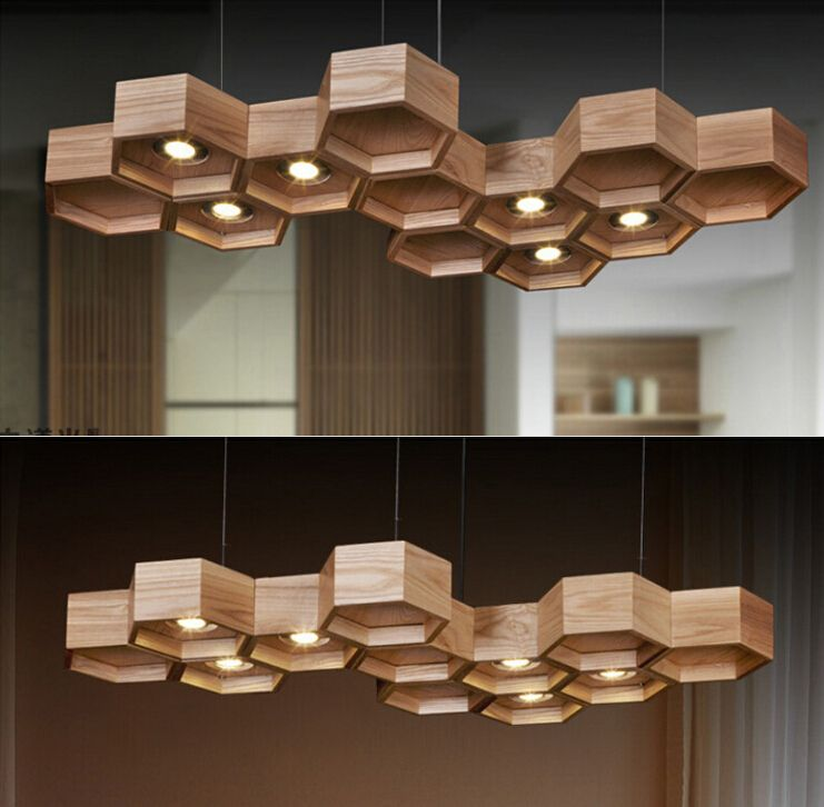 Honeycomb wooden large size rectangle chinese style for Ceiling lamp wood