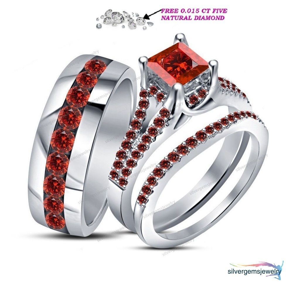 10k White Gold Men Women His Her Garnet Engagement Bridal Wedding Trio Ring Set