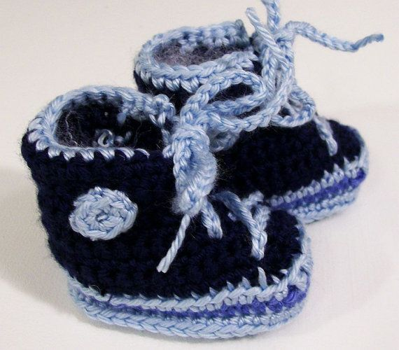 Baby Boy Sneakers BootiesshoesNavy and Light BlueBaby by togs4tots, $16.00