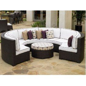 northcape international melrose wicker sectional curved sofa