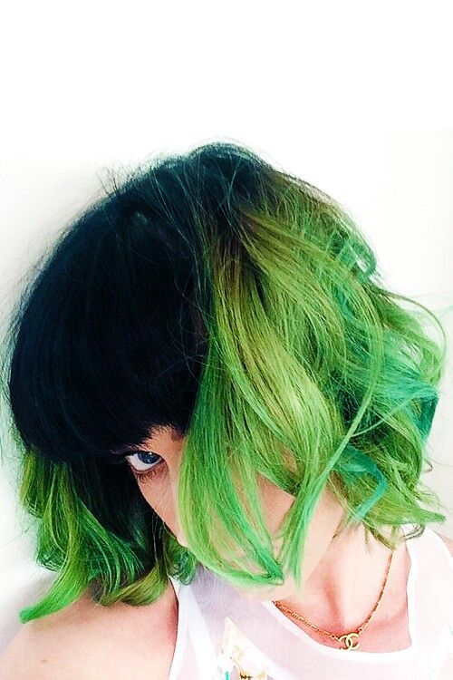 Katy Perry Short Black Neon Green Ombre Hair Green Hair Colors Green Hair Dye Green Hair