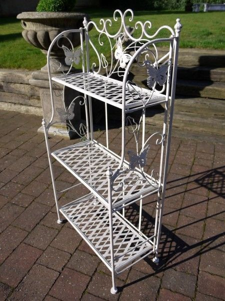 Bakers Rack Antique White Etagere 3 Tier Stand Shelves Plant Stand