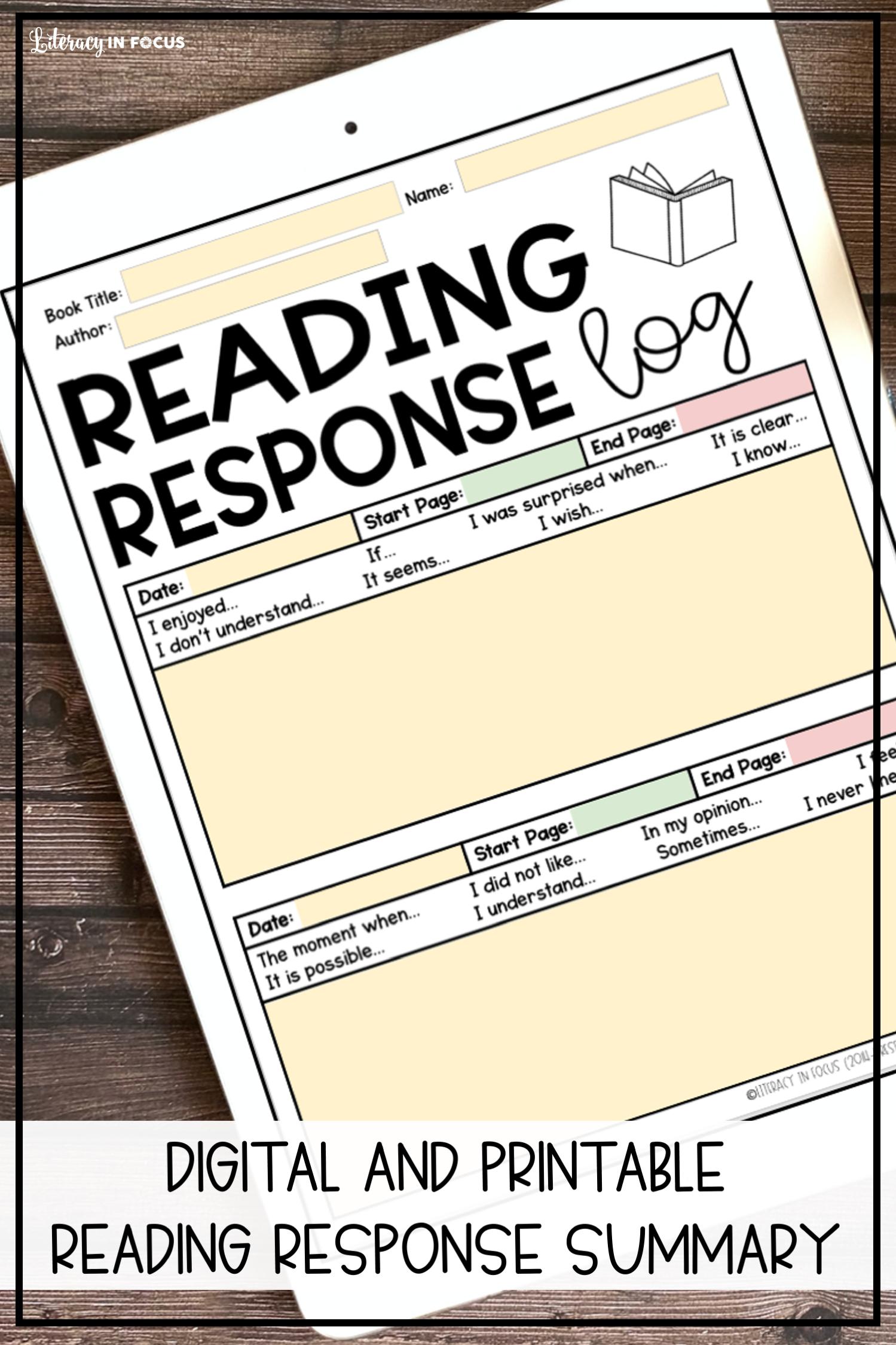 Printable and Digital Reading Log for Kids Upper