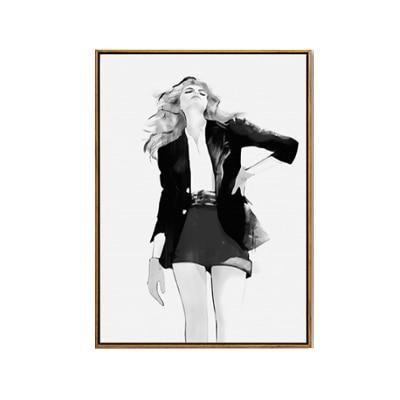 Modern black white fashion posters stylish catwalk models salon art ...