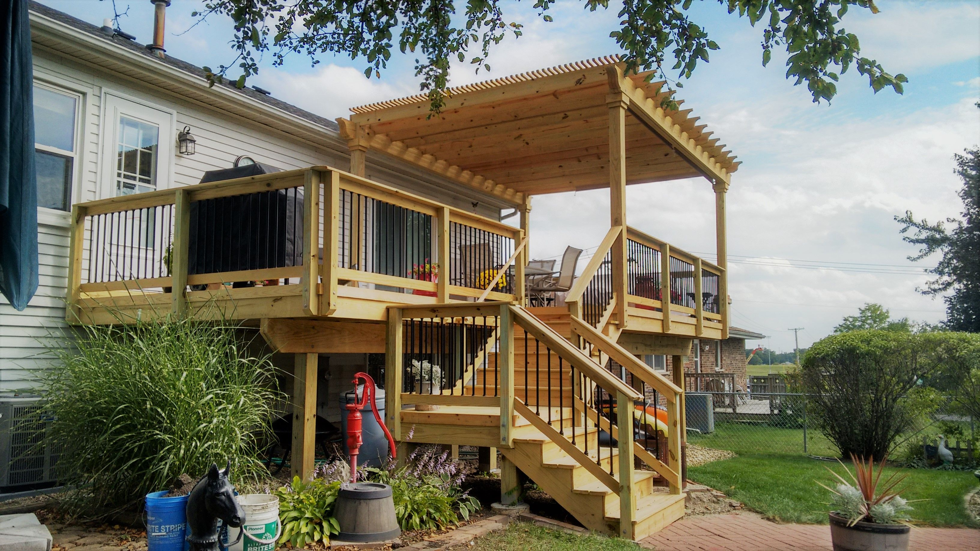 This Multi Level Wood Deck With Pergola Was Custom Designed And Built In Carol Stream Il By Archadeck Of Chicagoland Decks Backyard Pergola Deck With Pergola