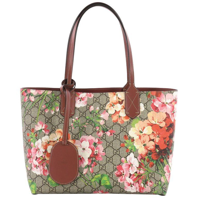 28339b74f Gucci Reversible Tote Blooms Gg Print Leather Small Tote Bag, Brown