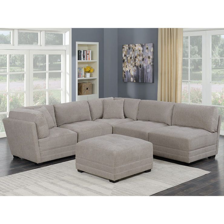 Mstar International Sanders 6 Piece Modular Fabric Sectional Sofa