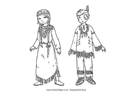 Native American Indian children coloring sheet for Thanksgiving