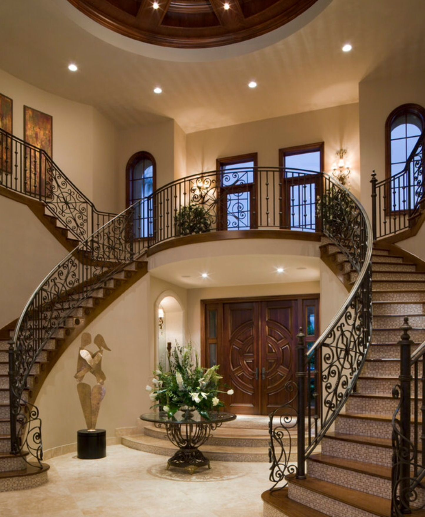 Entrance and double staircase   House design, House, Dream ...