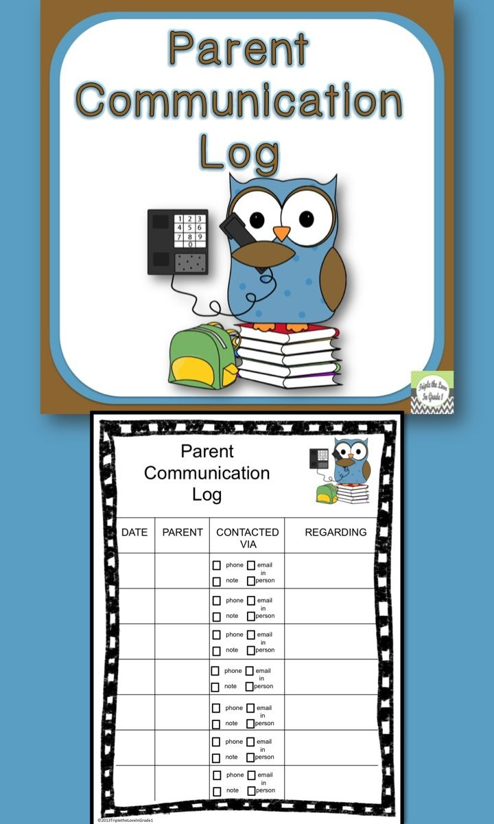 Freebie parent communication log communication log