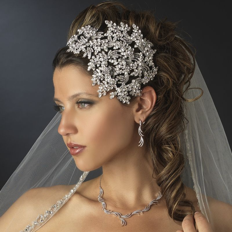 vintage couture leaves side accented crystal bridal faceframer headband headpiece 19255