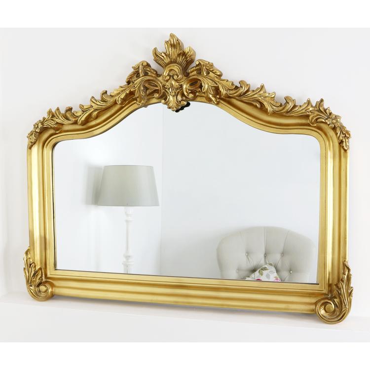 128cm x 102cm XL Cristina White Carved Ornate Overmantle Mirror 50 x 40