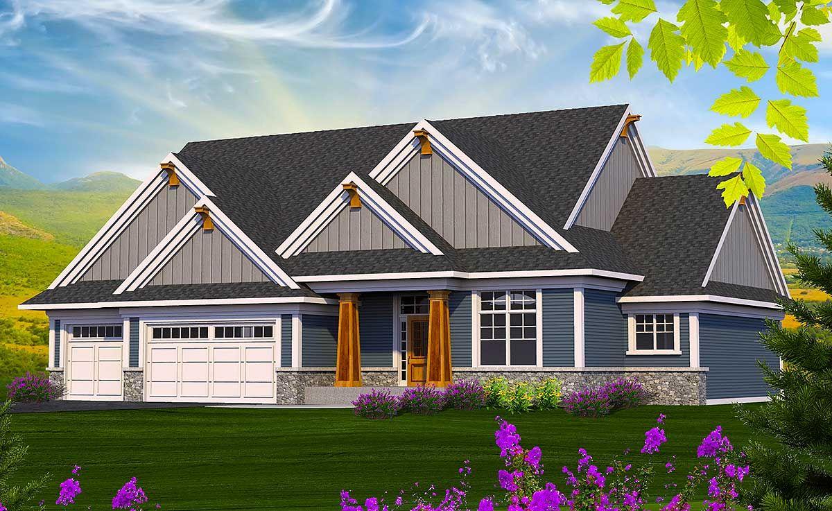 Plan 89960AH: 4 Gabled Craftsman Ranch Home Plan #craftsmanstylehomes