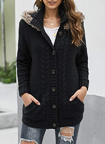 Sidefeel Women Hooded Knit Cardigans Button Cable Sweater