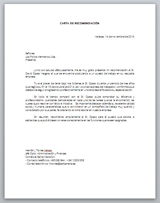 Word Descarga Formato De Carta De Recomendacion Laboral