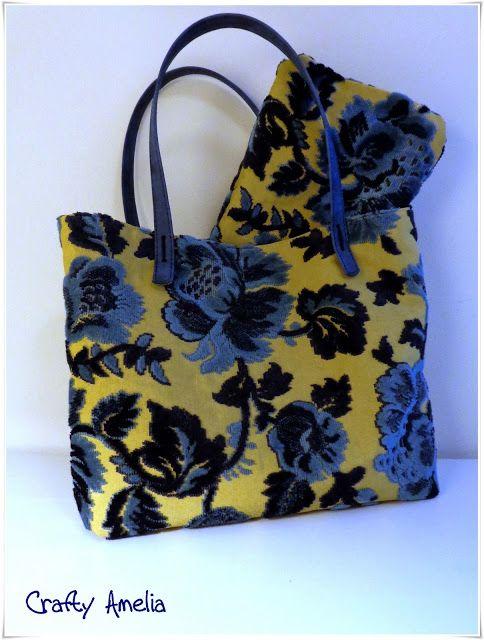 Borsa con stoffa tappezzeria tapestry bag quick saves for Appendi borse fai da te