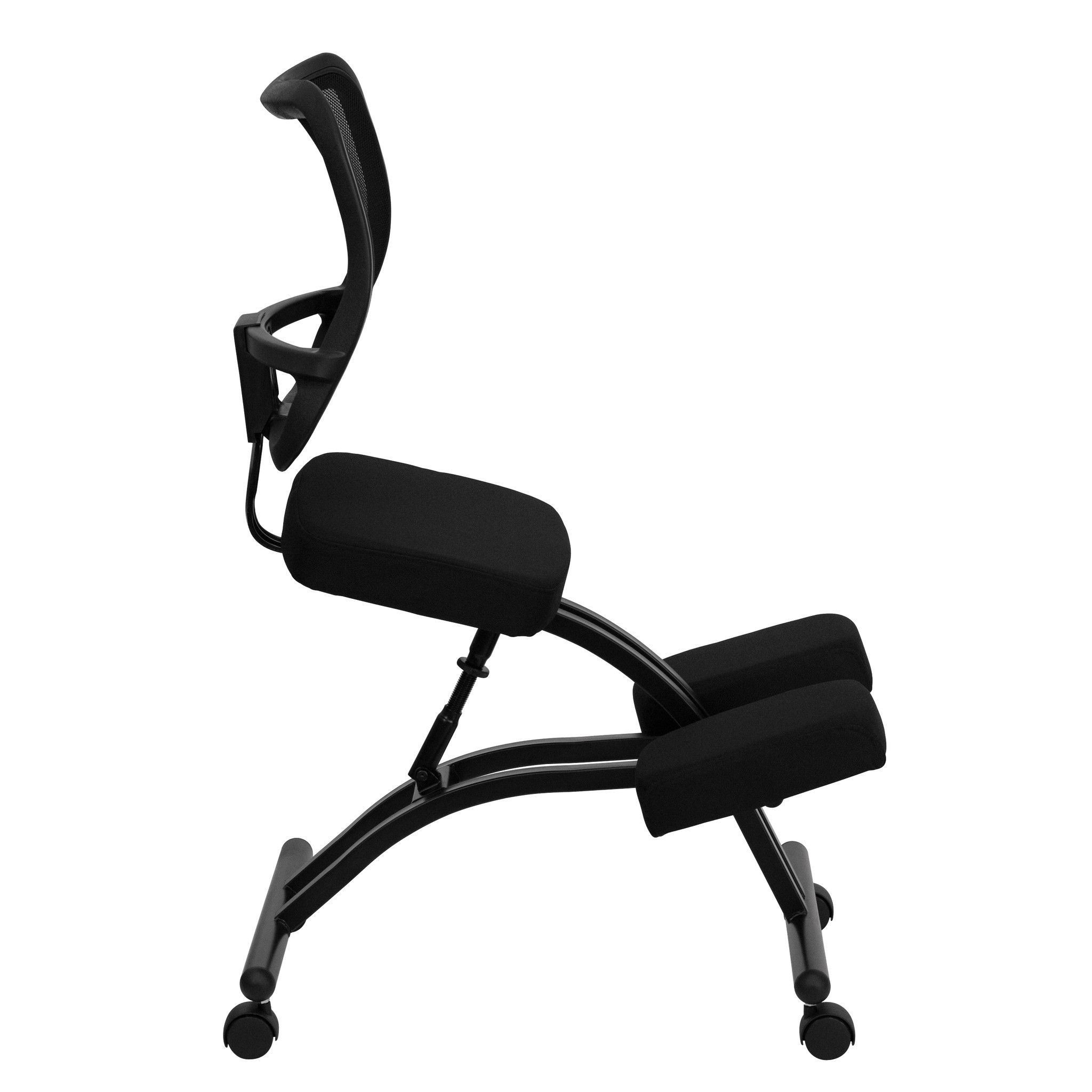 Backless ergonomic chair - Mobile Ergonomic Kneeling Chair With Black Curved Mesh Back