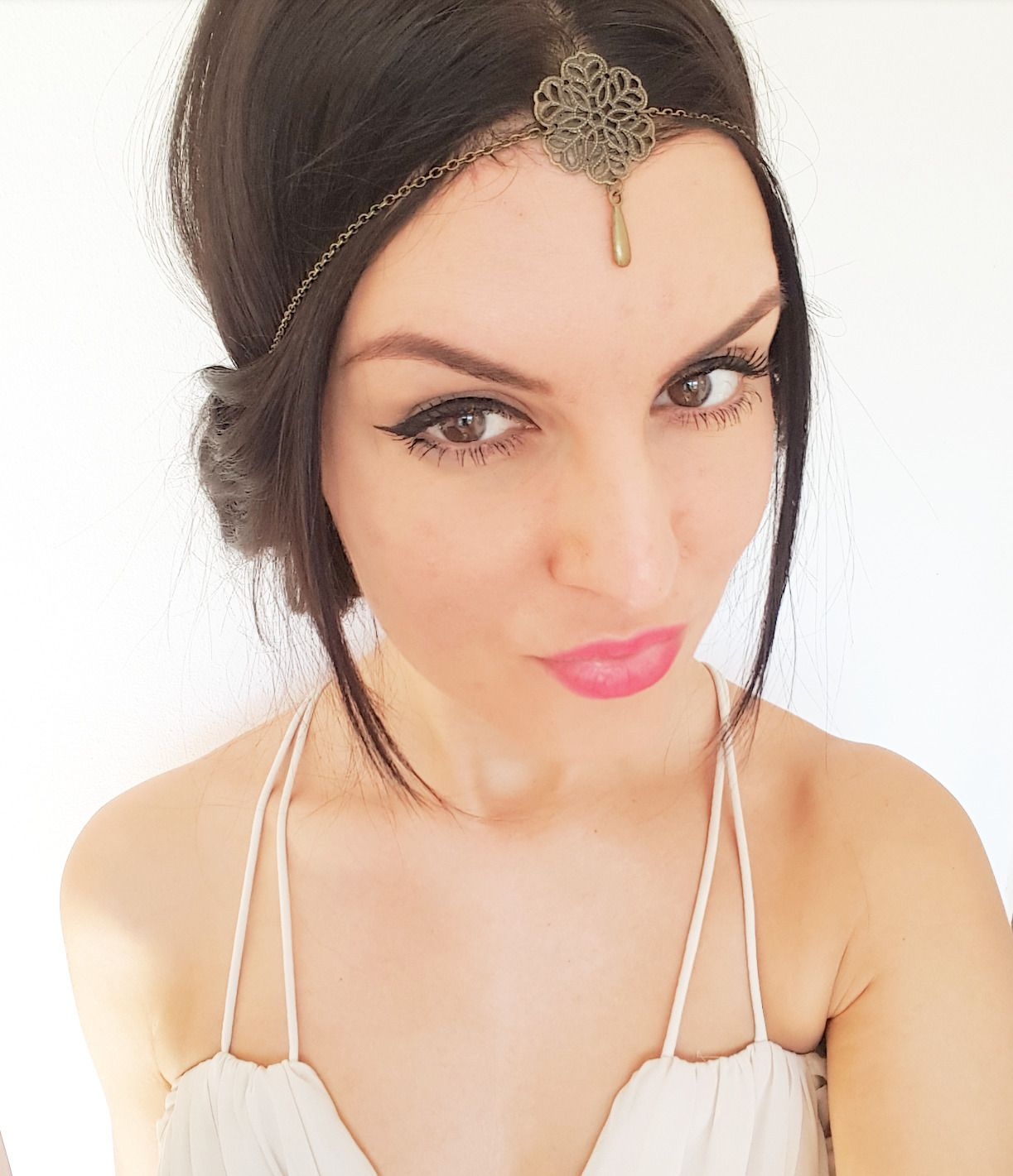 Headband bijoux fleur chaîne bronze original style hippie