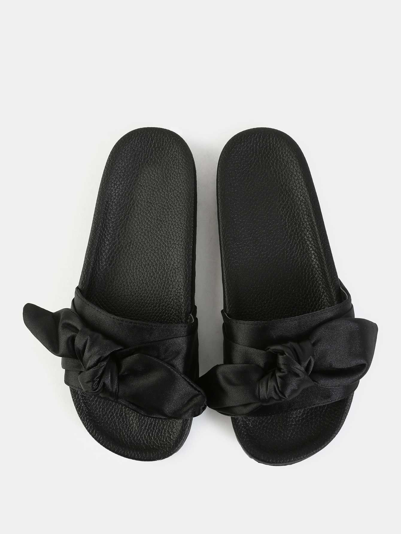 Online shopping for Bow Tie Satin Slide Sandals BLACK from a great  selection of women s fashion clothing   more at MakeMeChic.COM. d4305f8c9