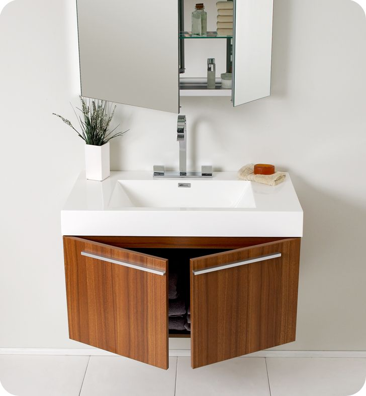 Superbe For The Basement Fresca   Vista Teak Modern Bathroom Vanity With Medicine  Cabinet     Home Depot Canada