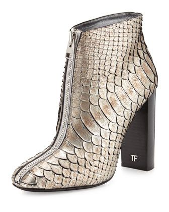 Front-Zip Python Ankle Boot, Antique Silver by TOM FORD at Neiman Marcus.