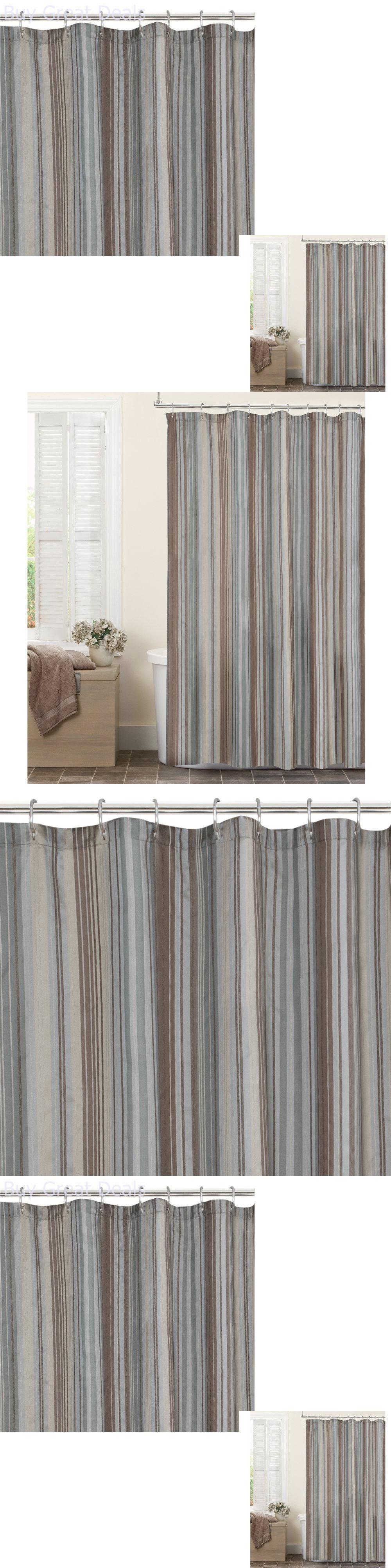 Shower Curtains 20441 Blue Brown Tan Fabric Curtain Bathroom Bath Tub BUY