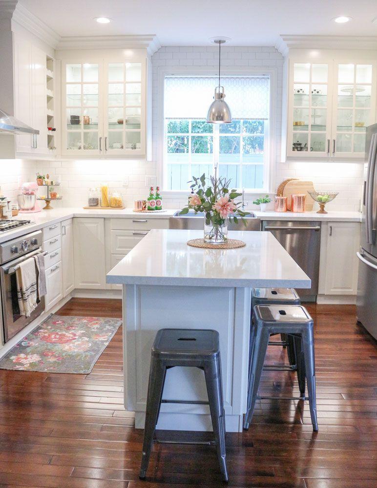 ikea white modern farmhouse kitchen copper kitchen accents 1111lightlane 1 of 1 kitchen on farmhouse kitchen small id=43549