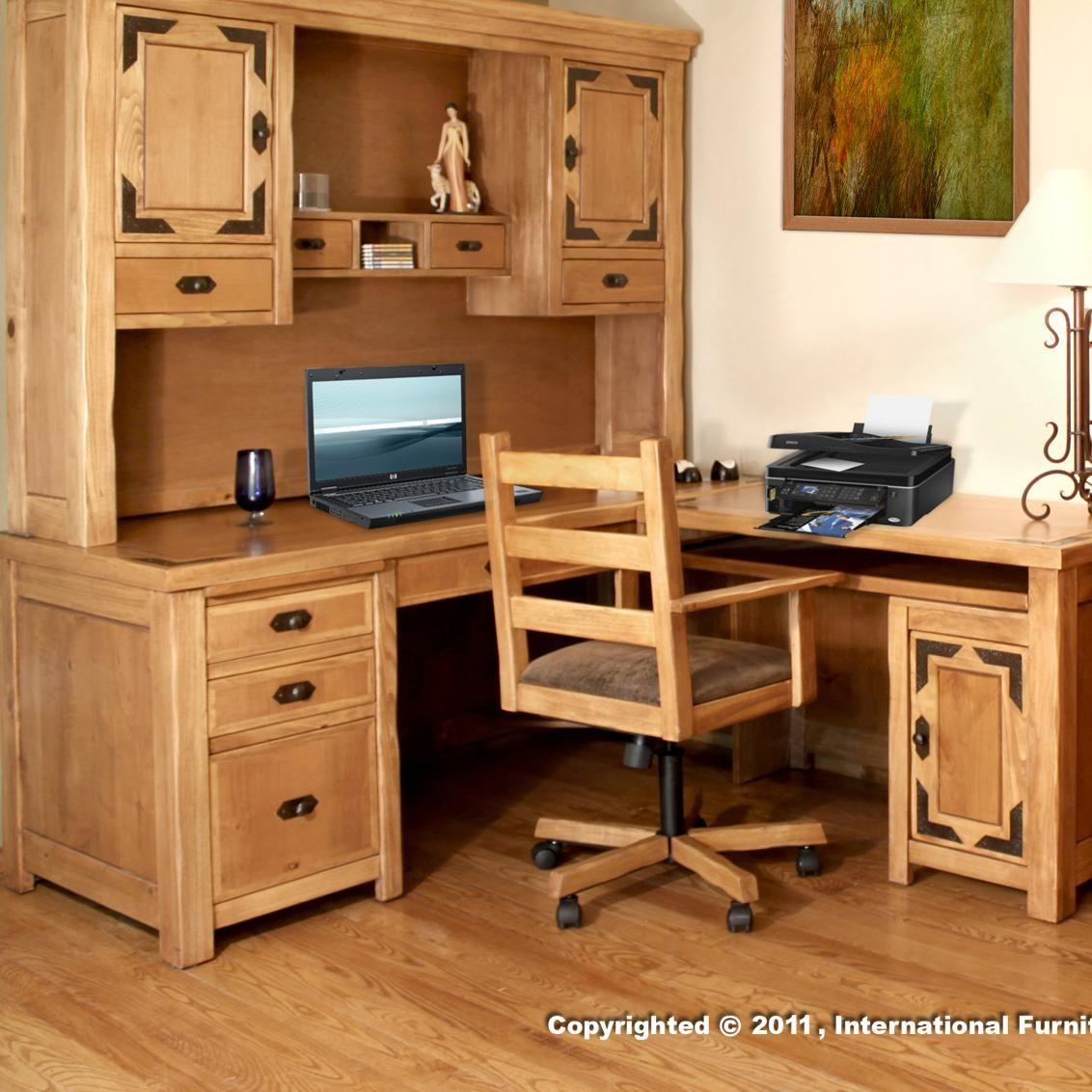 Lodge l shape desk by artisan home by international furniture l
