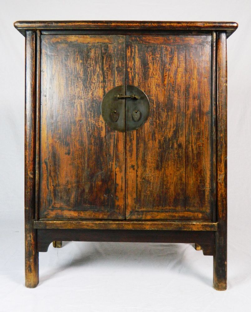 Antique wooden chinese armoire cabinet with drawers, hand-planed ...