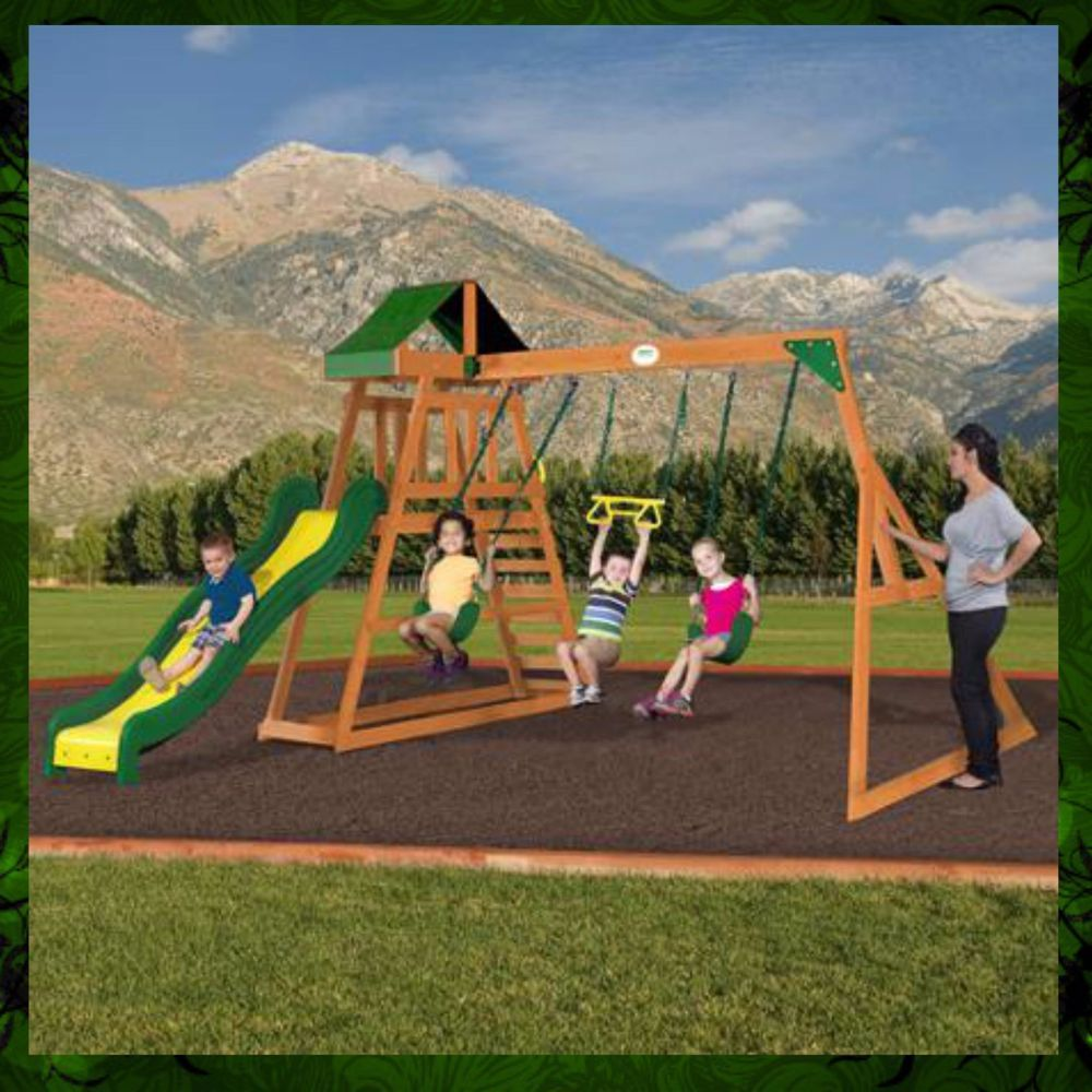 Swing Set Wooden Outdoor Patio Swings Slide Backyard ...