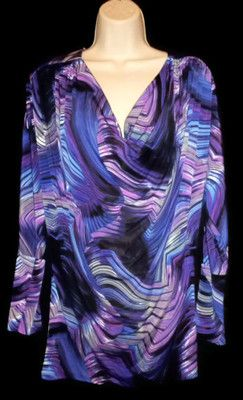 Bisou Bisou Michelle Bohbot Cowl Neck Blouse Purple Blue Abstract Print Small $19.99