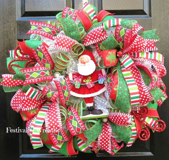 christmas wreath holiday wreath deco mesh wreath christmas decor holiday decor front door wreath mesh wreath christmas