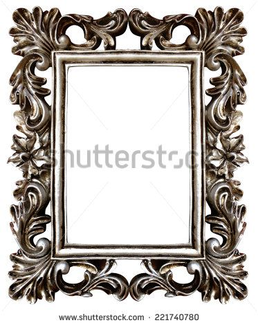 High resolution baroque style flora frame cutout on white isolated ...