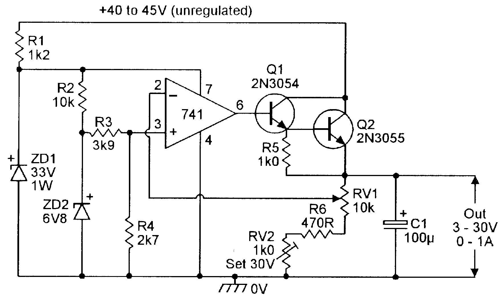 3v to 30v 0 to 1 amp stabilized psu electronic schematics 3v to 30v 0 to 1 amp stabilized psu pooptronica Gallery