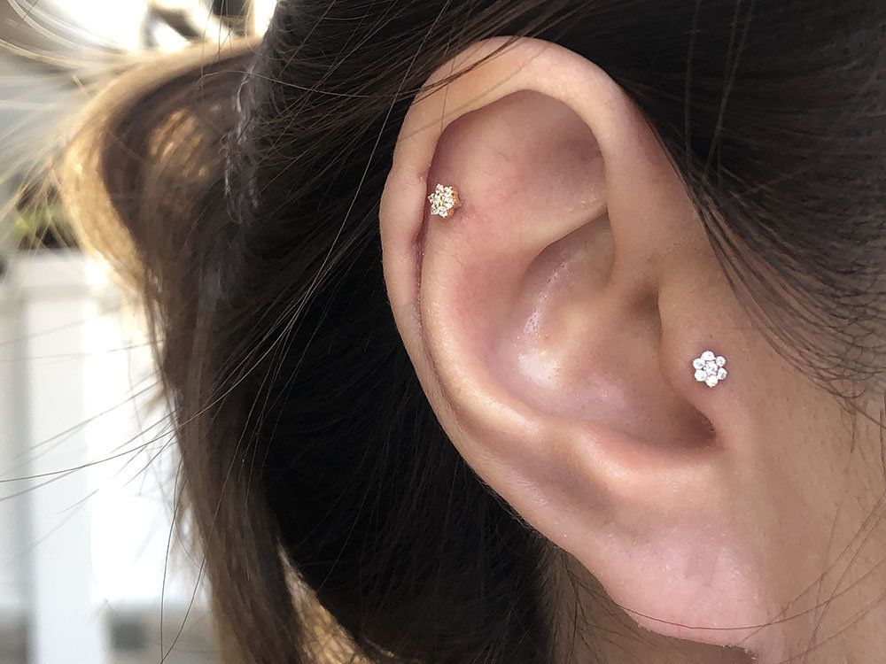 Tragus Piercing 3mm Emerald TRAGUS EARRING  Silver Nose Ring Rook Ring Tragus Ring 16g Conch Piercing Cartilage Hoop Earring