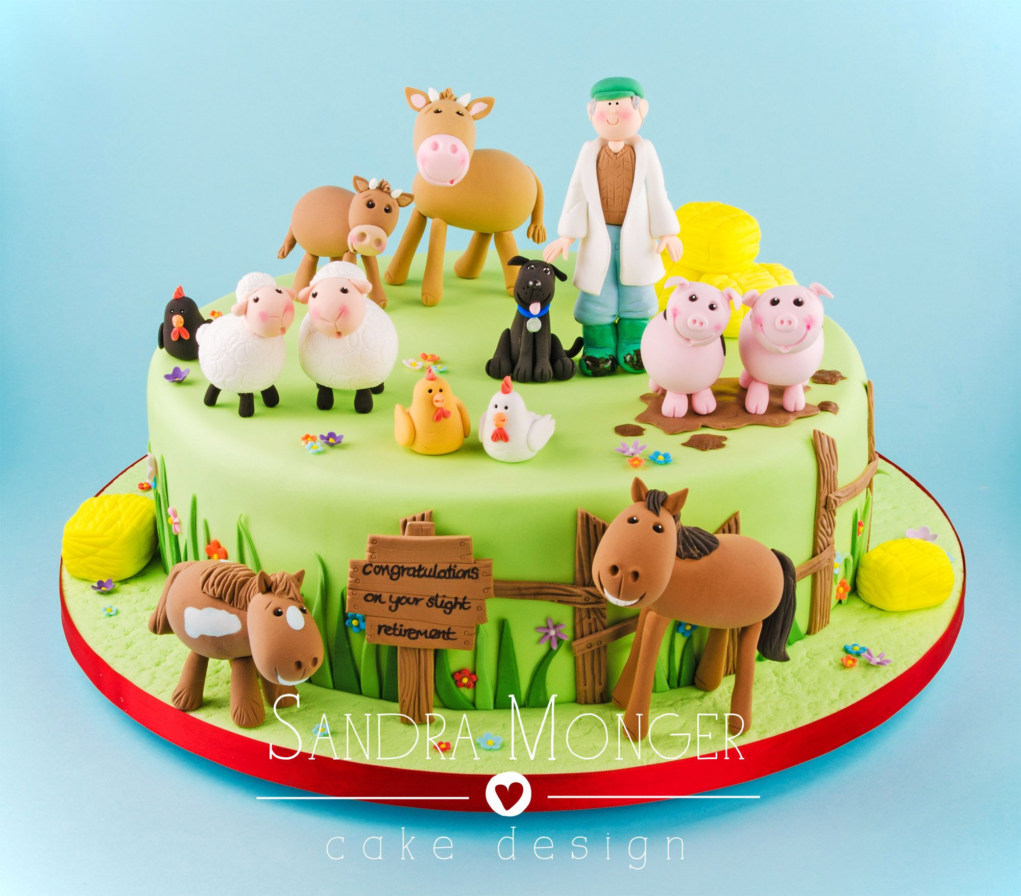 Farmyard Cake With Sheep Cows Pigs Horses And Chickens In