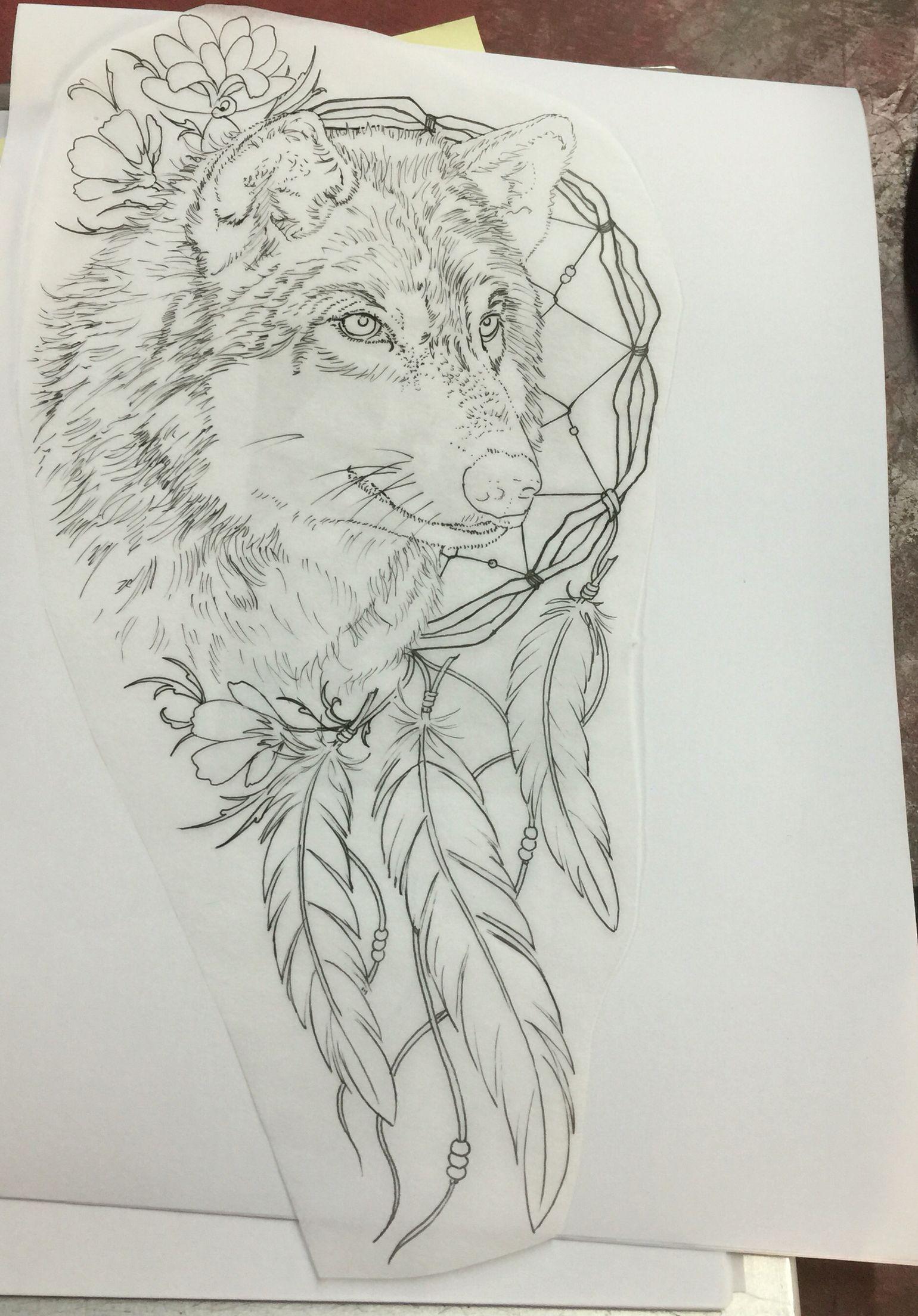 My Amazing Wolf Dream Catcher Tattoo Pretty Tattoos Wolf Tattoos