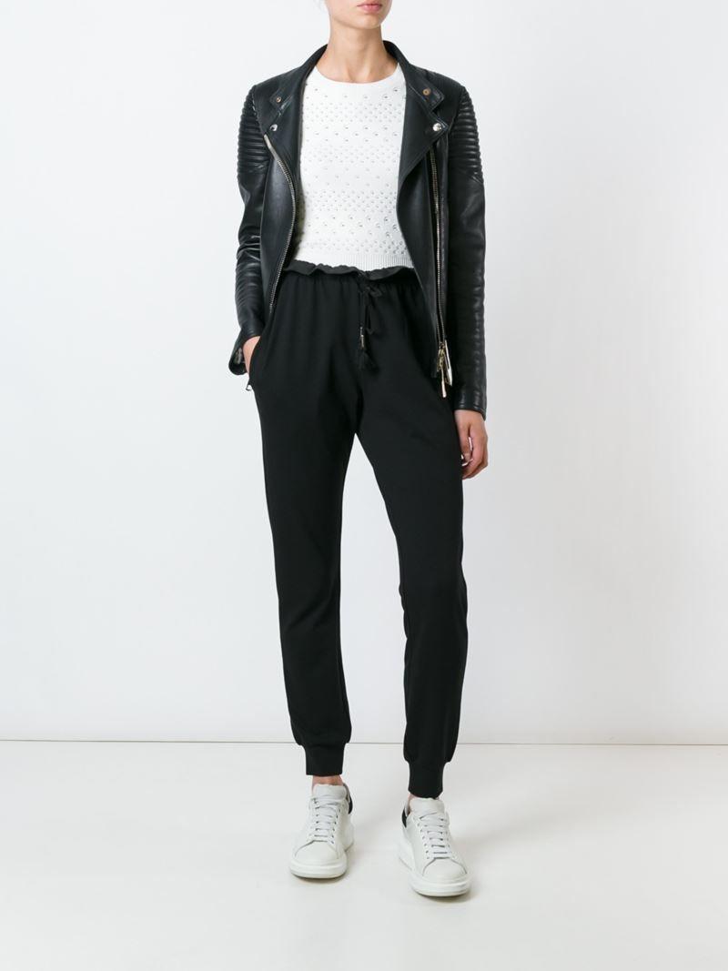 Just Cavalli Pantalones Joggers Con Cordones. Pantalones joggers con  cordones en seda negros de Just Cavalli.  f890c306ed78