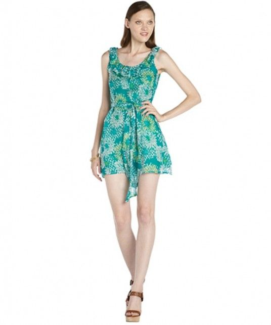 Romeo & Juliet Couture green floral printed chiffon woven ruffle trim dress on WearsPress
