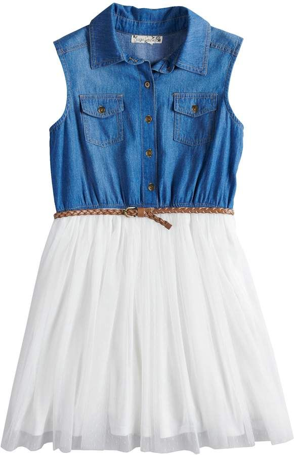 5a30a287e Knitworks Girls 7-16 & Plus Size Sleeveless Denim Bodice Belted Dress