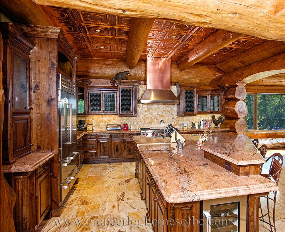 log kitchen log cabinets log furnishing log homes pioneer log homes home decorating. Black Bedroom Furniture Sets. Home Design Ideas