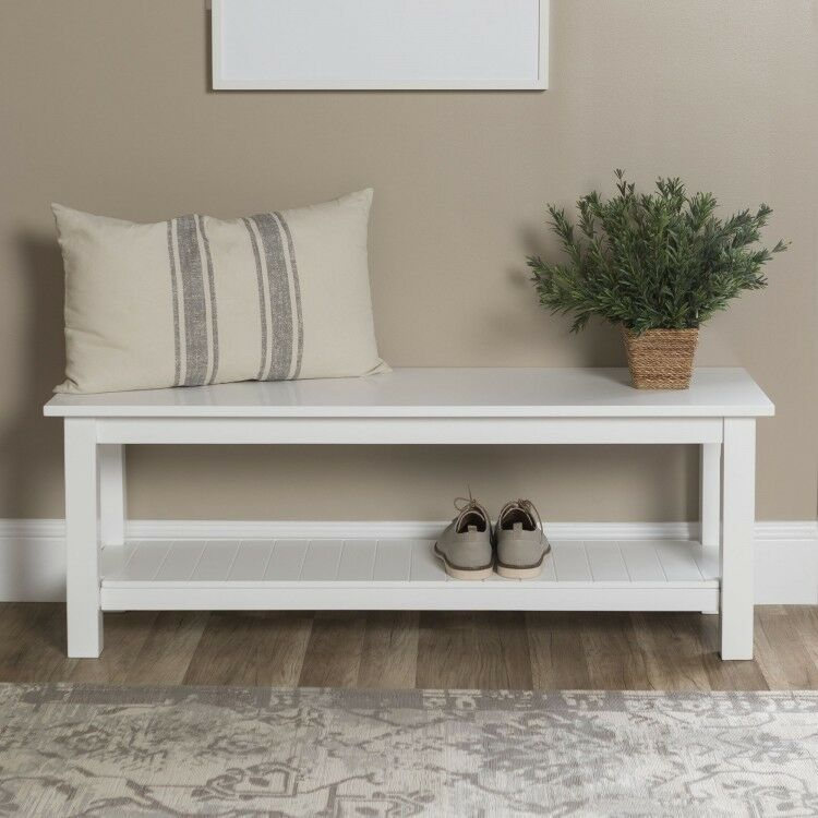 Sensational Wooden Entryway Bench White Slatted Shelf Kitchen Seats Pdpeps Interior Chair Design Pdpepsorg