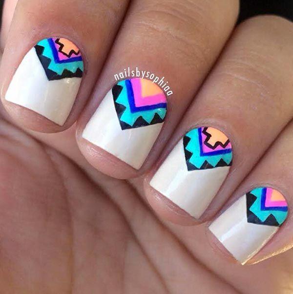 uñas cortas con diseños | uñas | Pinterest | Uñas cortas, Diseños de ...