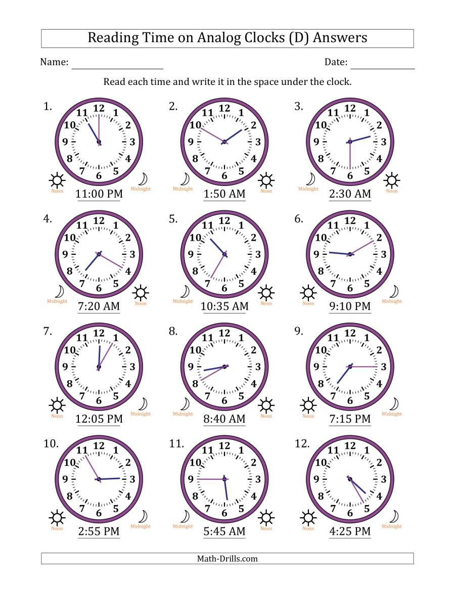 The Reading 12 Hour Time On Analog Clocks In 5 Minute Intervals 12 Clocks D Math Worksheet Page 2 In 2020 Analog Clock Clock Worksheets Math Time