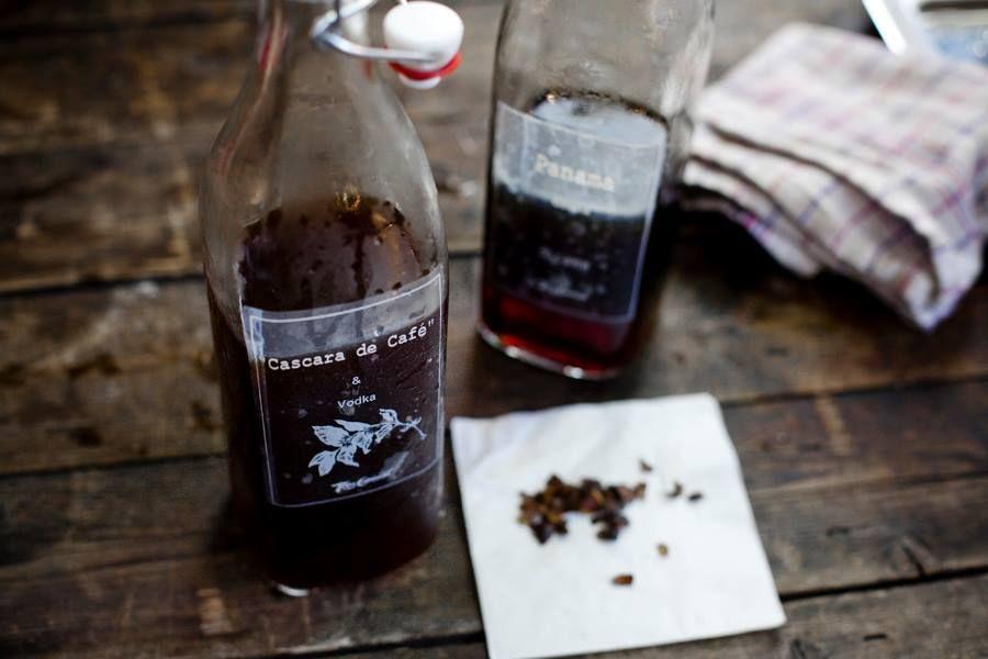 Cascara de Café with a twist of gin. Cascara Schnaps made by Tres Cabezas.
