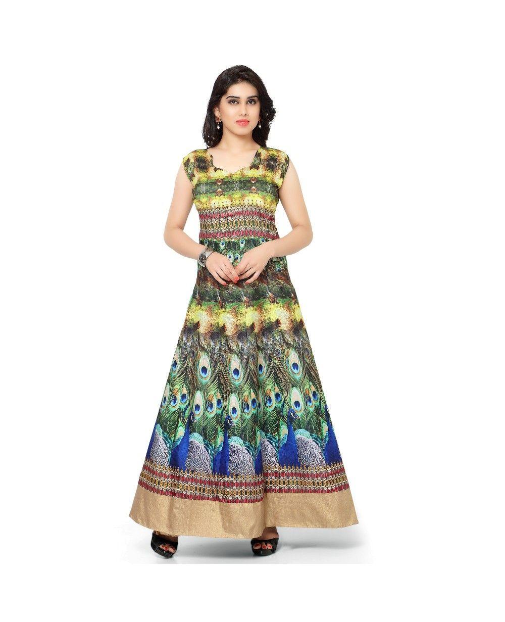a50c85317c1c Pure Bhagalpuri Digital Print Anarkali Semi Stitched Gown #gown #ethnicwear  #womengown